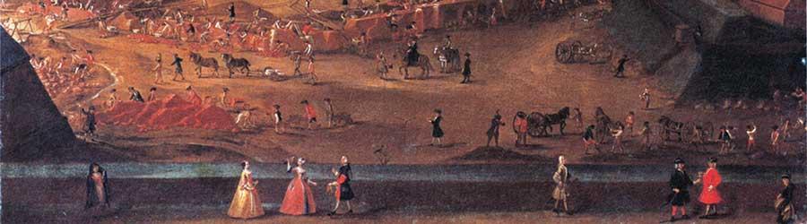 """Promenade auf der Citadelle (Bildausschnitt  aus """"Ausbau der östlichen Festungsanlagen"""" von Beckers, 1735)"""