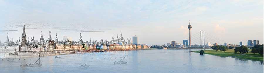 Historisch-aktuelles Rheinpanorama (Otte)